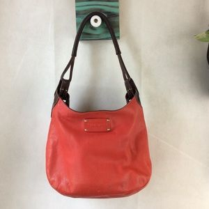Kate Spade Red Brown Trim Leather Shoulder Bag GUC